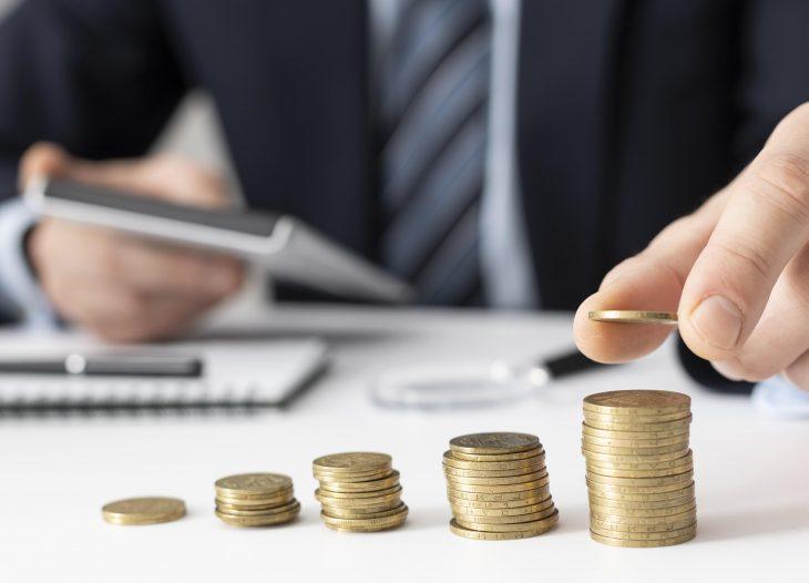 front-view-finance-business-elements-assortment